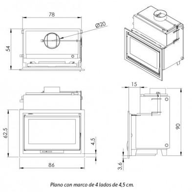 Dimensiones Termochimenea Carbel C-80 Hidro