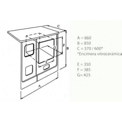 Dimensiones cocina de leña Hergom L-07-A