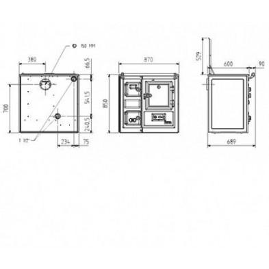 Dimensiones cocina de leña calefactora Hergom Saja 7