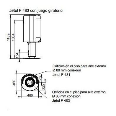 Dimensiones de la estufa Jotul F 483